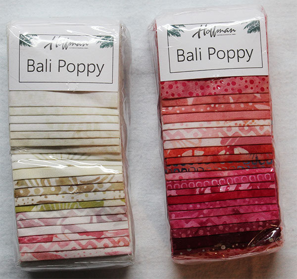 Hoffman Bali Poppy strips of pinks and creme