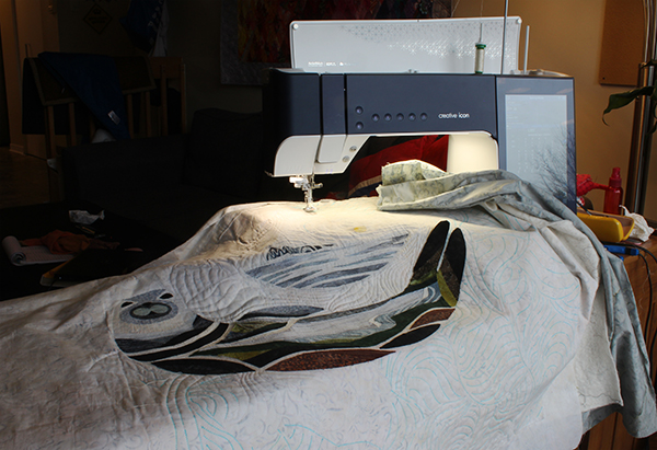 Quilting Felix with my Pfaff Creative Icon and Aurifil threads